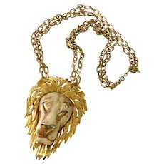 Fierce 'Leo the Lion' Necklace, Famous Razza Pc., 1970s