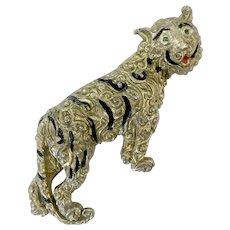 Smiling Tiger Brooch with Ornate Markings, Enamel, Rhinestone Eyes
