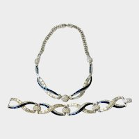 Boucher Marked Silver Art Deco-Style Necklace & Bracelet Demi, with Faux Sapphires