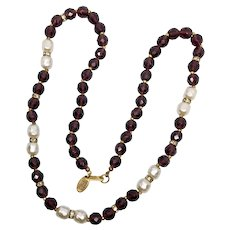 Haskell Purple Faceted Crystal & Faux Baroque Pearl Necklace