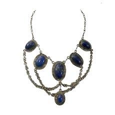 Ethnic Brass Filigree and Lapis Lazuli Cabochon Bib Necklace