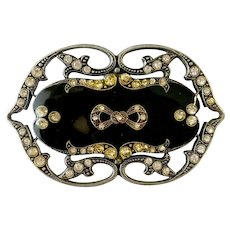 Nouveau/Deco Style Black Enamel and Rhinestone Brooch: Pierre Bex