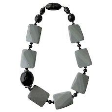 Angela Caputi Black and Grey Modernist Lozenge & Balls Necklace, Marked Fiocchi Italy