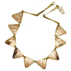 Mixed Metal Woven Modernist Necklace, with Copper & Brass, 1980s