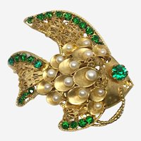 Gilt Filigree Fish with Faux Emeralds & Faux Pearls, 1960s