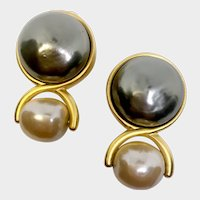 Lagerfeld 'Sexy' Figure 8 Earrings with Two-Tone Faux Baroque Pearls