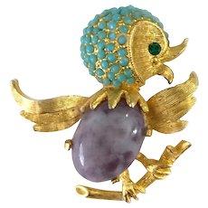Cutest  Rockin' Songbird Jeweled Pin, Unsigned Ciner