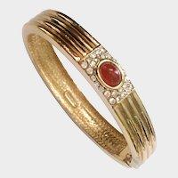 Ciner Minimalist Egyptian Deco-Style Bangle Bracelet with Faux Carnelian