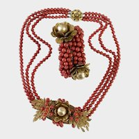Early Haskell Frank Hess Red Glass and Gilt Leaves Necklace & Coil Bracelet Set