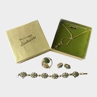 Sterling Vermeil & Genuine Jade Parure by Sorrento: StanHome Hostess Party Set