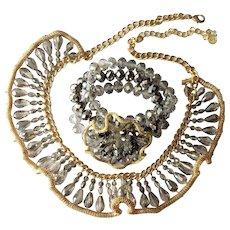 Bridal or Prom 'Black Diamond' Crystal & Mesh Ruffle Bib Necklace and Bracelet Set: Vera Wang