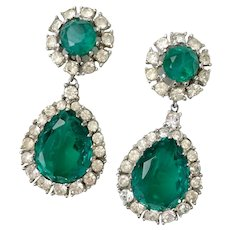 Ciner Iconic Faux  'Flawed Emerald' Drop Earrings, Mogul- Style