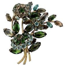 Signed Schreiner Inverted-Set Crystal & Trembler Freeform Floral Brooch