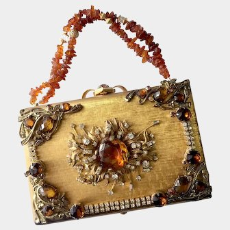 Beauty Queen's One-of-a-kind Golden Jeweled Evening Purse-Clutch