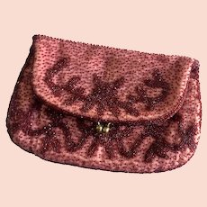 Great Gatsby - Style Red Beaded Flap Clutch or Purse: Made in Belgium for Bonwit Teller
