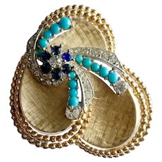 Boucher Modernist Retro Floral Brooch with Faux Sapphires, Turquoise & Diamonds