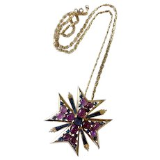 Boucher Maltese Cross Brooch-cum-Pendant Necklace with Fancy Blue Keystones, Purple Speckled Cabochons