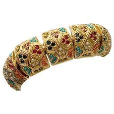 Geometric Deco-Style Bracelet with Multi Faux Precious Gemstones, Unsigned Ciner