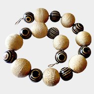 Humongous Tribal or Ethnic Sisal Rope and Wooden Bead Necklace with Sterling Vermeil Clasp