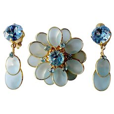 Blue Floral Brooch & Dangle Earrings Set with Frosted Glass, Austrian Crystals: Germany