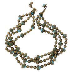 Rare Haskell Mogul-Style Turquoise & Gold Bead Triple Strand Necklace