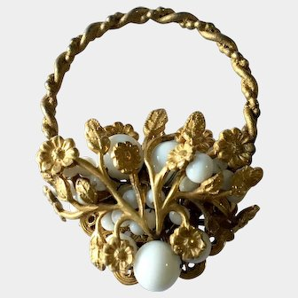 Haskell Basket or Wreath Brooch, Gilt with Milk Glass