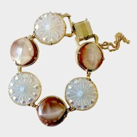 Unique Hobe Disc Bracelet with Iridescent Carnival Glass and Faux White-and-Brown Jade