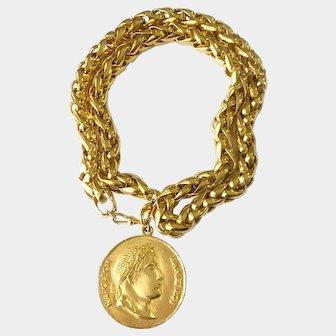 Hefty Golden Chain Necklace-cum-Belt with Huge Napoleon Coin Pendant, 1980s, JBW
