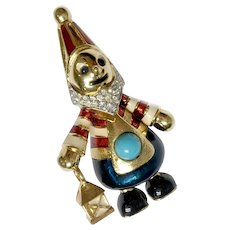 Fanciful Gnome Dwarf Brooch with Enameling, Faux Turquoise: Jomaz (Joseph Mazer)