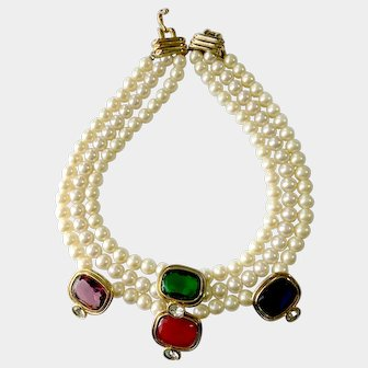 KJL Kenneth Jay Lane Faux Pearl & Large Jewel-Tone Crystal Accents, 1980s