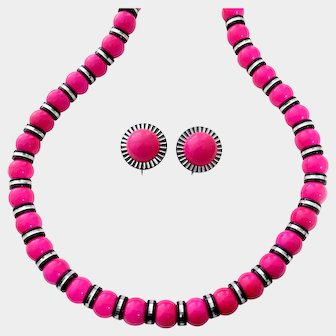 Hot Pink & Black-and-Chrome Accents Necklace and Earrings Set: Les Bernard