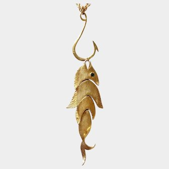 Napier 'The Big One' Golden Fish-and-Hook Necklace: Book Piece