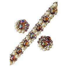 Ravishing Aurora Borealis Cabochon and Faux Pearl Demi a la Schiaparelli
