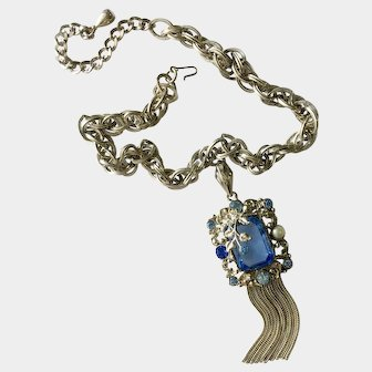 Ornate Floral Tasseled Necklace with Huge Faux Blue Topaz, Unsigned Selro