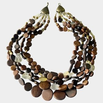 Super-Chunky Wooden Discs and Rock Crystal Bead Collar Necklace: Jay Strongwater
