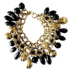 Trifari Lush Charm Bracelet with Faux Onyx & Golden Ball Dangles