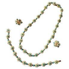 Vendome Exquisite Faux Turquoise and Faux Pearl Floral Parure