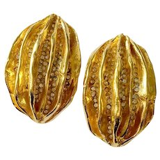 Huge Golden Modernist (Brutalist) Oval Earrings with Glitzy RS: Woloch Paris