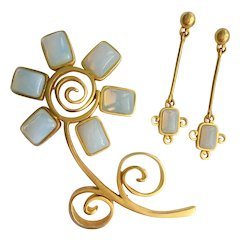 Givenchy Humongous Flower Brooch & Dangle Earrings Set with Faux Opals