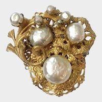 Haskell Baroque Pearl and Gilt Ruffles Brooch