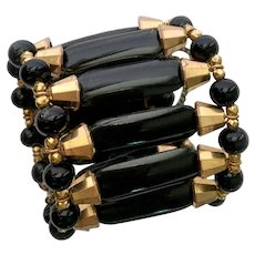 Haskell Black-and-Gold Egyptian Deco Style Wide Bracelet