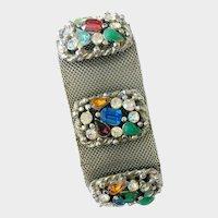 Wide Silvertone Mesh Bracelet with Faux Multi-Gemstones