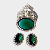 Sculpturesque Mogul Revival Brooch & Earrings Demi with Huge Faux Emeralds