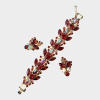 Red Crystal and Aurora Borealis Cabochon Demi: Schiaparelli Style