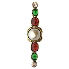 Chanel Classic Gripoix Glass and Faux Pearl Brooch, 1985
