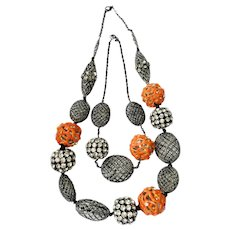 Bittar 'Coral Branches, 'Fishnet' and Rhinestone Balls Necklaces: Set of 2, with Pouch