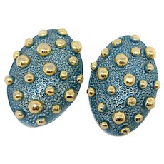 Jay Feinberg (Strongwater) Modernist Earrings with Gilt Balls, Metallic Enamel