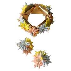 Retro Pastel Flowers with Rhinestones Stretch Bracelet Earrings Set: West Germany