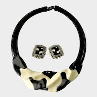 Moo-jestic! Unique Cow Print Collar Necklace with Black-and-Cream Enamel & Matching Earrings
