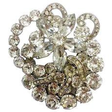 Flashy, Glitzy Faux Diamond Crystal and 'Ice' Brooch: Albert Weiss